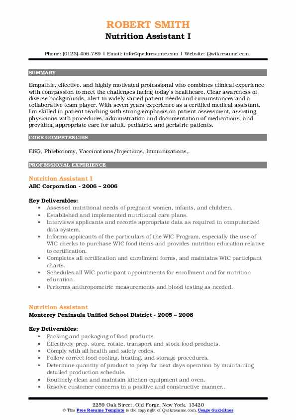 Nutrition Assistant Resume Samples | QwikResume