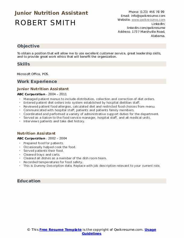 Junior Nutrition Assistant Resume Model