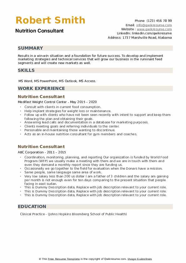 Nutrition Consultant Resume example