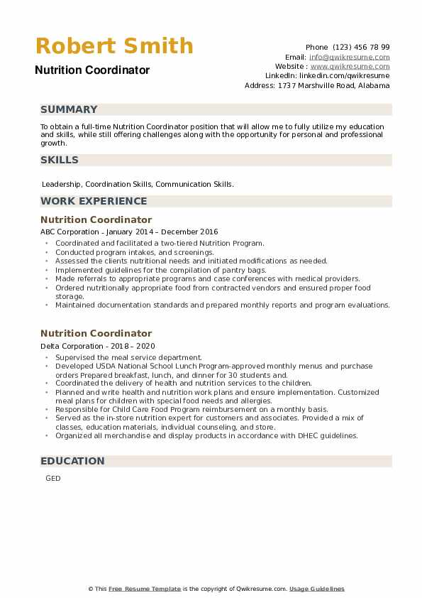 Nutrition Coordinator Resume example