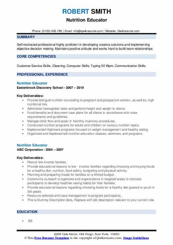 Nutrition Educator Resume example