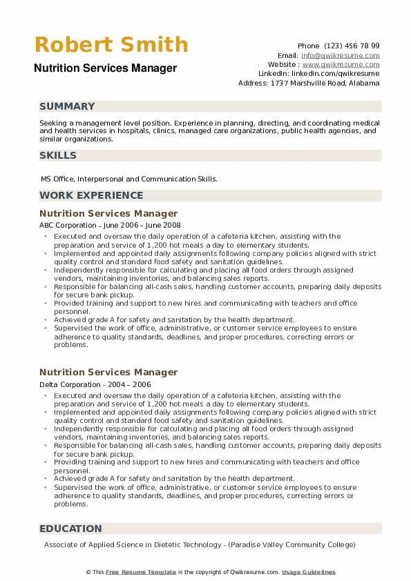 Nutrition Services Manager Resume example