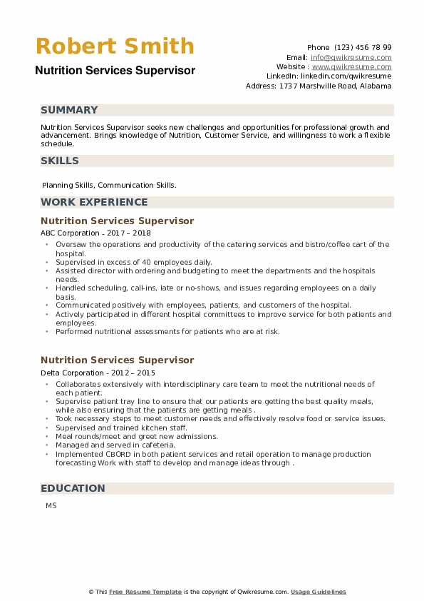 Nutrition Services Supervisor Resume example