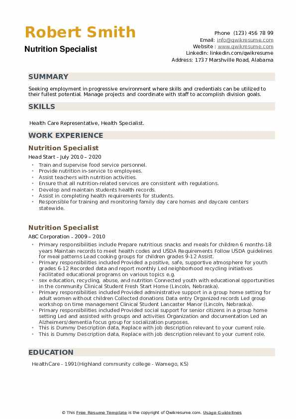 Nutrition Specialist Resume example