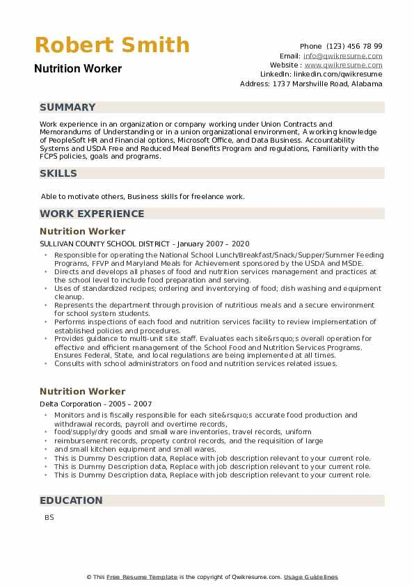 Nutrition Worker Resume example