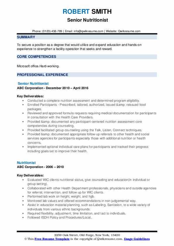 Senior Nutritionist Resume Sample