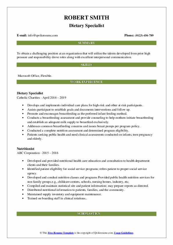Nutritionist/Dietary Specialist Resume Model