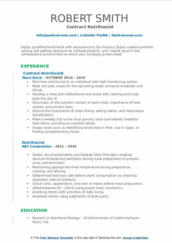 Contract Nutritionist Resume Model
