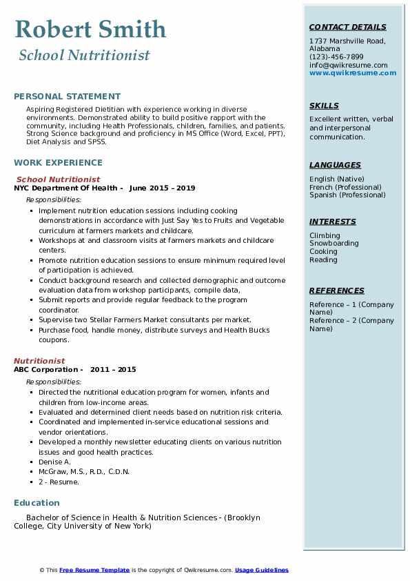 School Nutritionist Resume Model