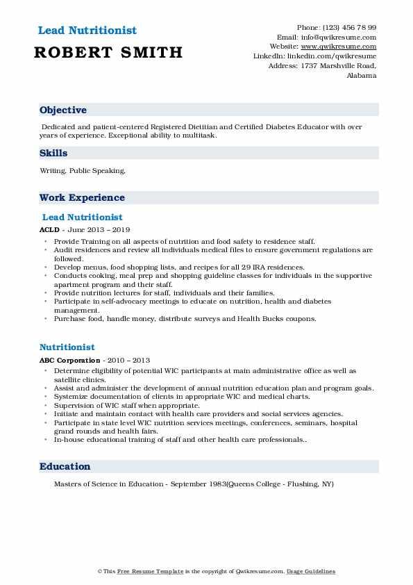 Lead Nutritionist Resume Example