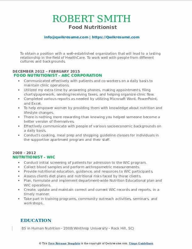 Food Nutritionist Resume Example