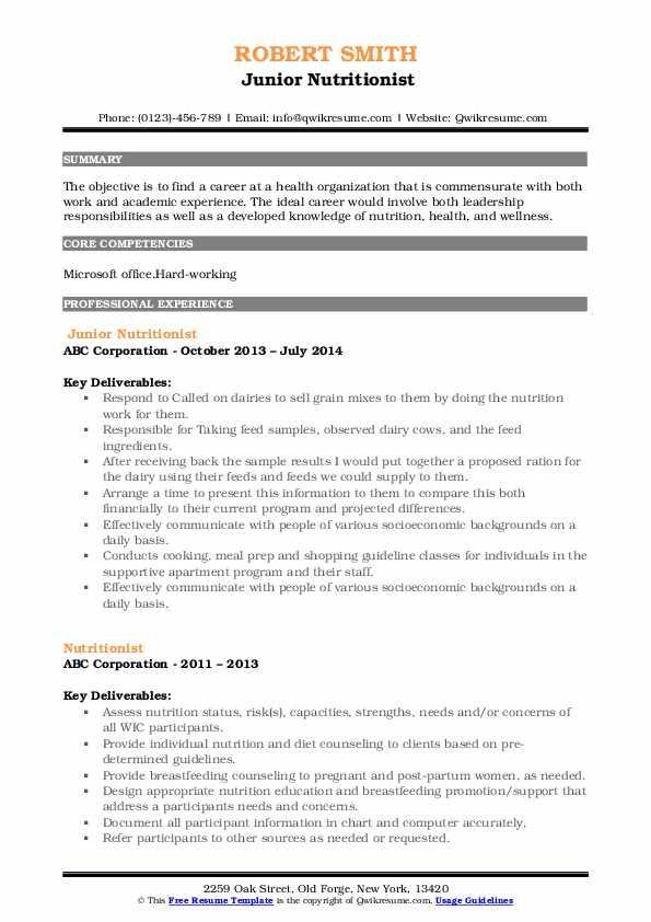 Junior Nutritionist Resume Example