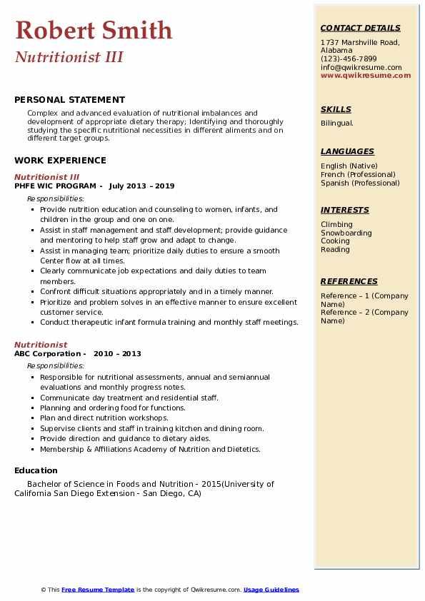 Nutritionist III Resume Example