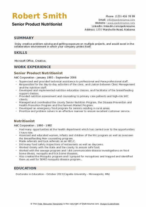 Senior Product Nutritionist Resume Model