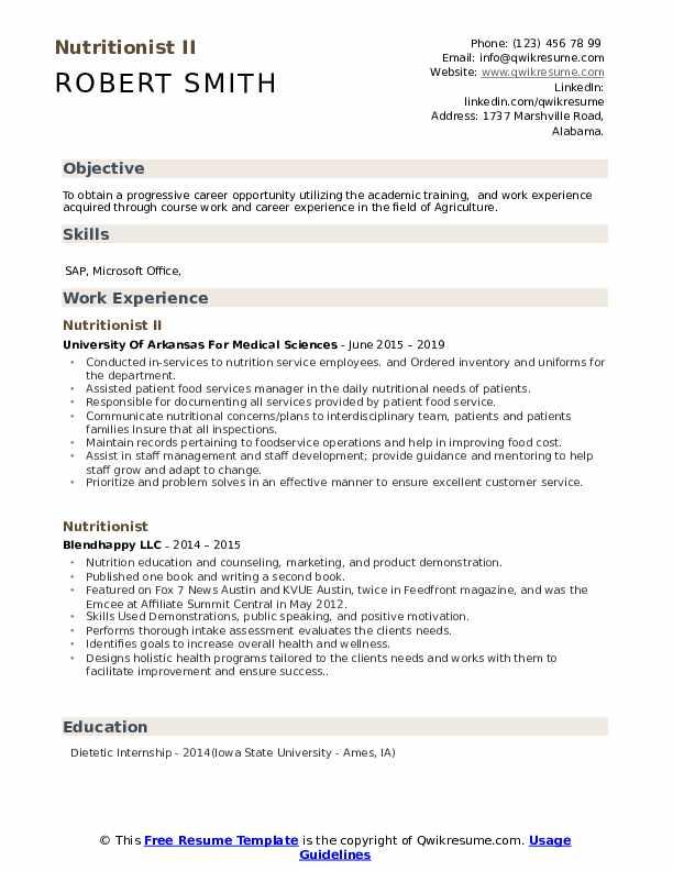Nutritionist II Resume Format