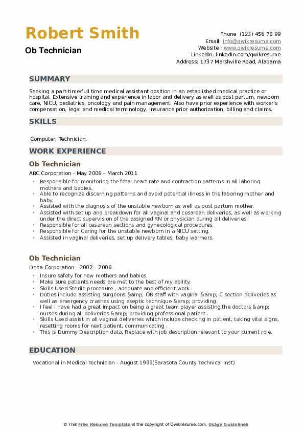 OB Technician Resume example