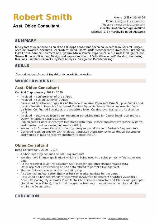 Obiee Consultant Resume example