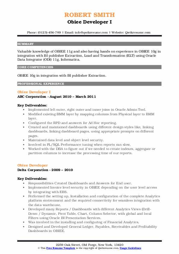 Obiee Developer Resume Samples Qwikresume