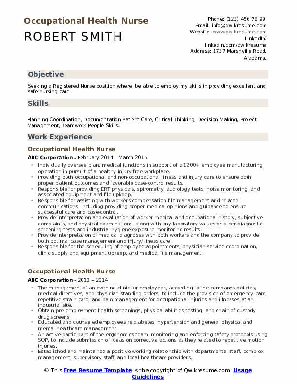 Occupational Health Nurse Resume Example
