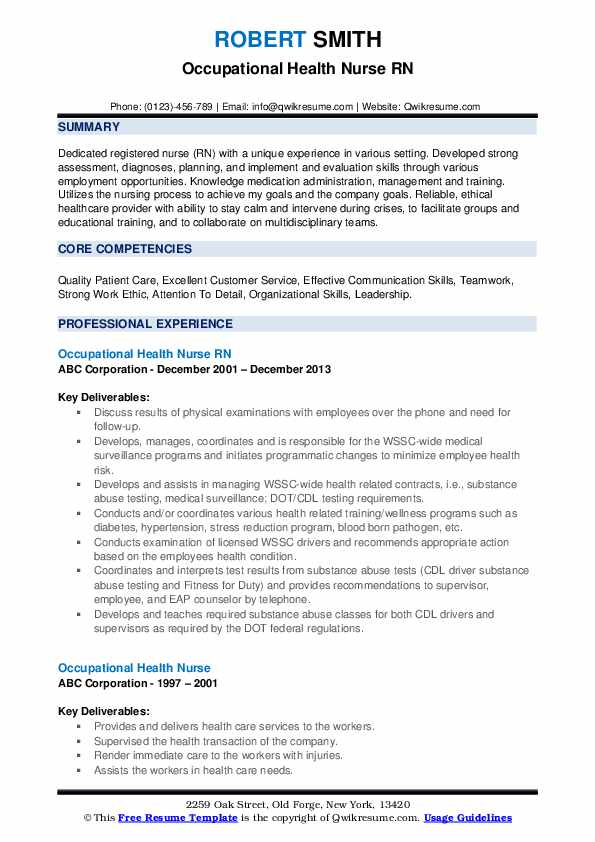 Occupational Health Nurse RN Resume Template