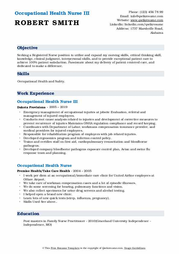 Occupational Health Nurse III Resume Sample