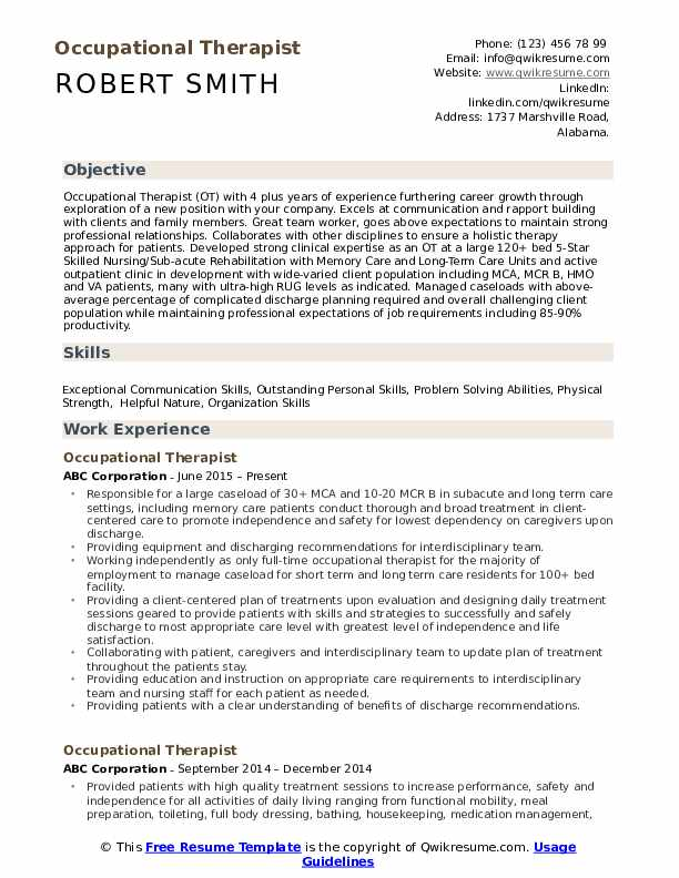 Occupational Therapist Resume Samples