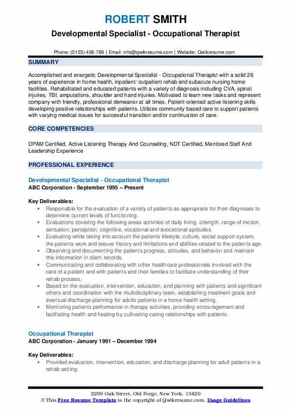 Developmental Specialist - Occupational Therapist Resume Example