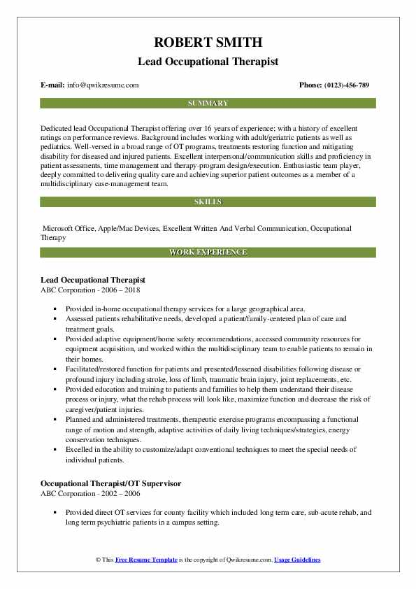 Lead Occupational Therapist Resume Example