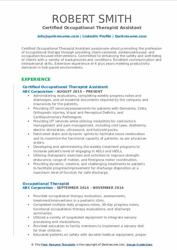 Certified Occupational Therapist Assistant Resume Format