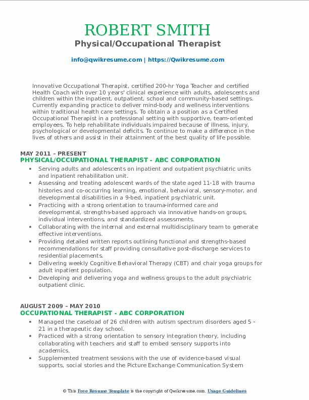 Physical/Occupational Therapist Resume Model