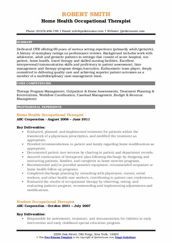 Home Health Occupational Therapist Resume Model
