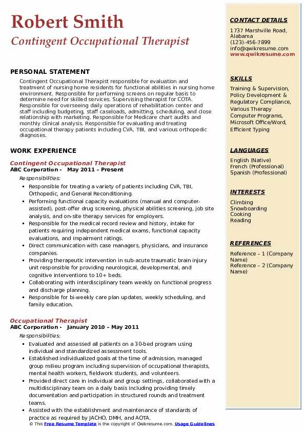 Contingent Occupational Therapist Resume Model