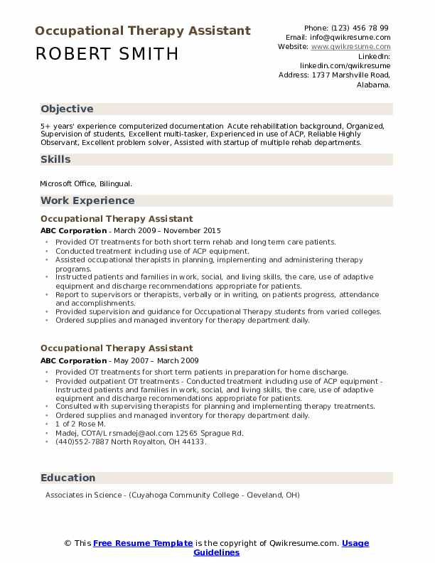 Occupational Therapy Assistant Resume Samples