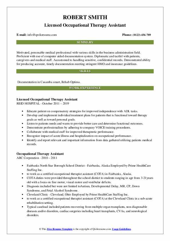 Licensed Occupational Therapy Assistant Resume Example