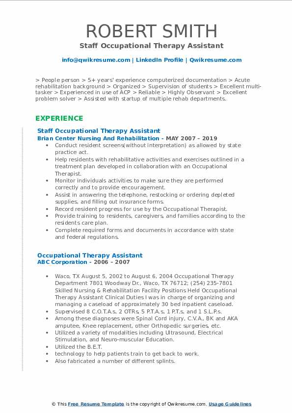 Occupational Therapy Assistant Resume Samples | QwikResume