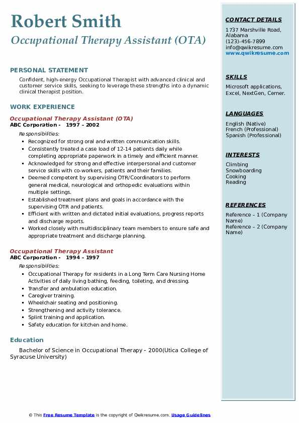 Occupational Therapy Assistant (OTA) Resume Sample