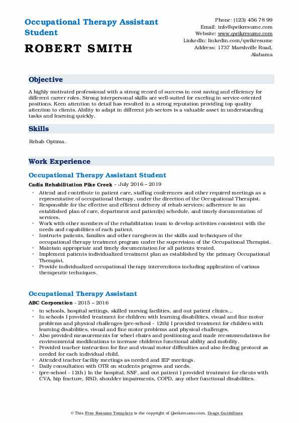 Occupational Therapy Assistant Student  Resume Model
