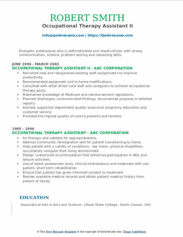 Occupational Therapy Assistant II Resume Sample
