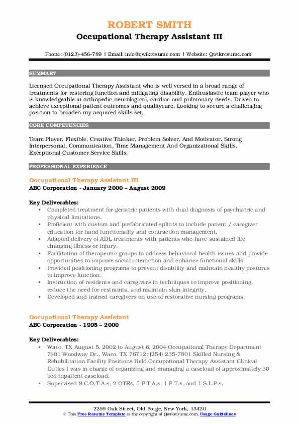 Occupational Therapy Assistant III Resume Sample