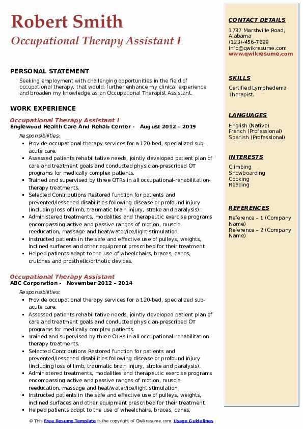 OCCUPATIONAL THERAPIST COVER LETTER AND RESUME EXAMPLES