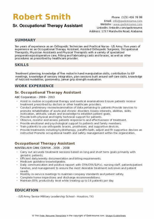 Sr. Occupational Therapy Assistant Resume Example