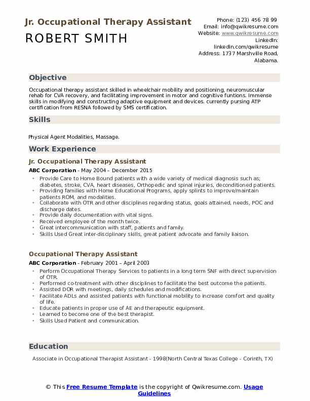 Jr. Occupational Therapy Assistant Resume Template