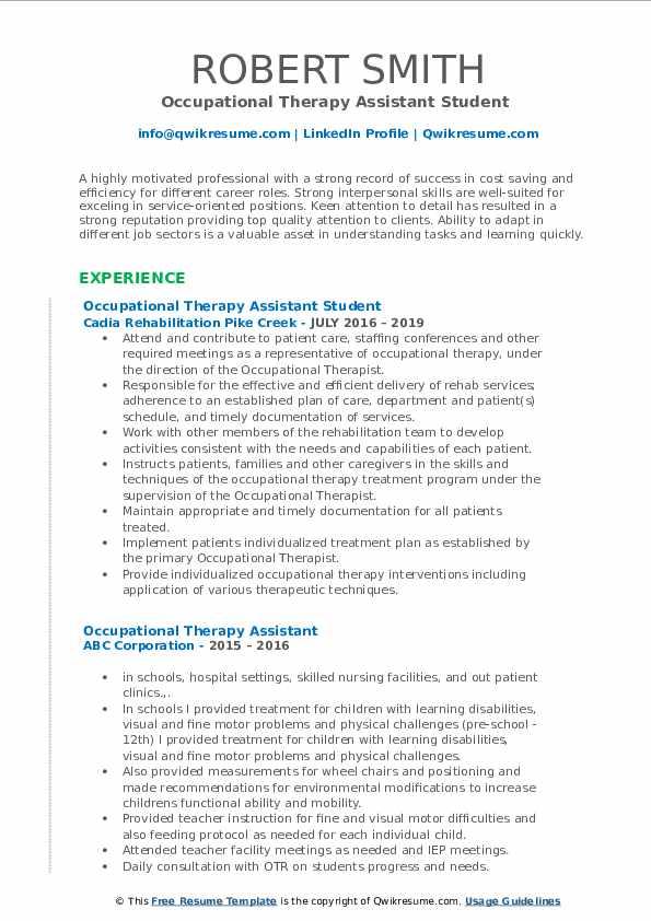 Junior Treatment Coordinator Resume Example