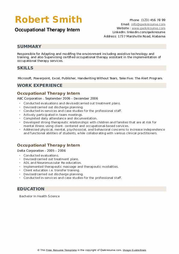 Occupational Therapy Intern Resume example