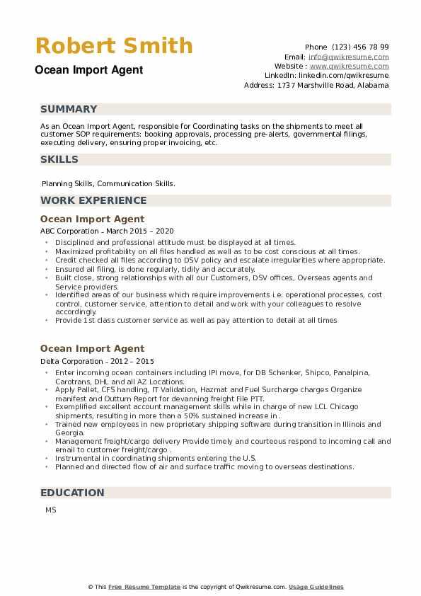 Ocean Import Agent Resume example