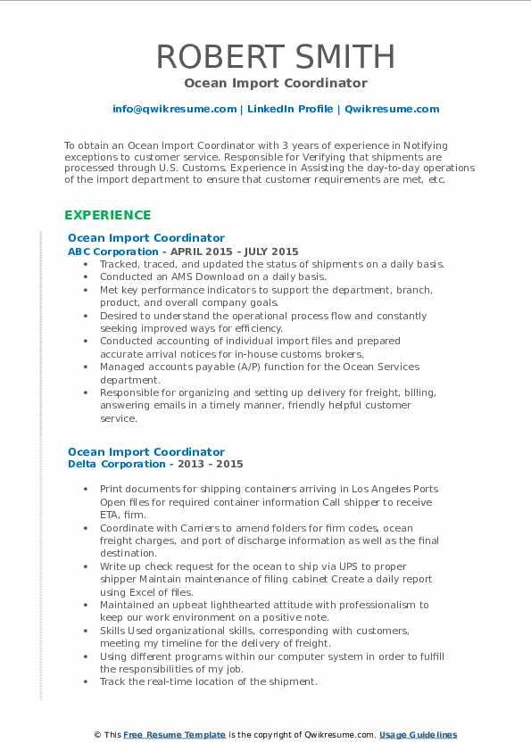 ocean import coordinator resume samples  qwikresume