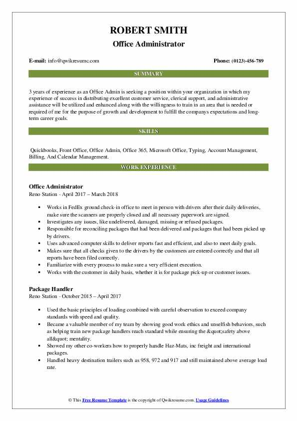 Office Admin Resume Samples Qwikresume