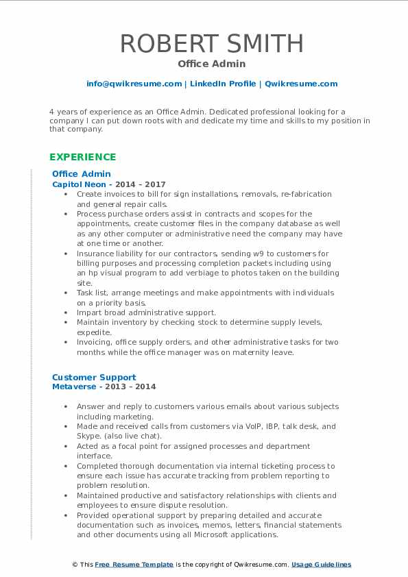 Office Admin Resume Format