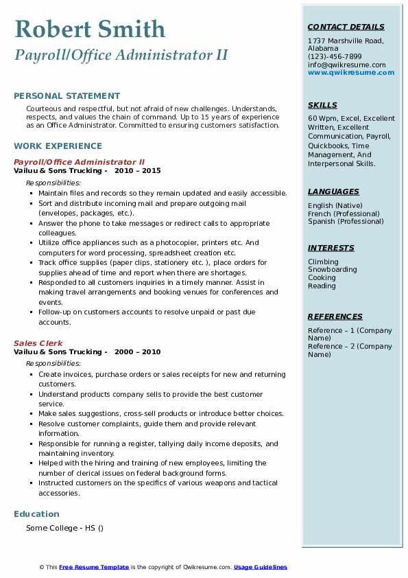 Payroll/Office Administrator II Resume Model