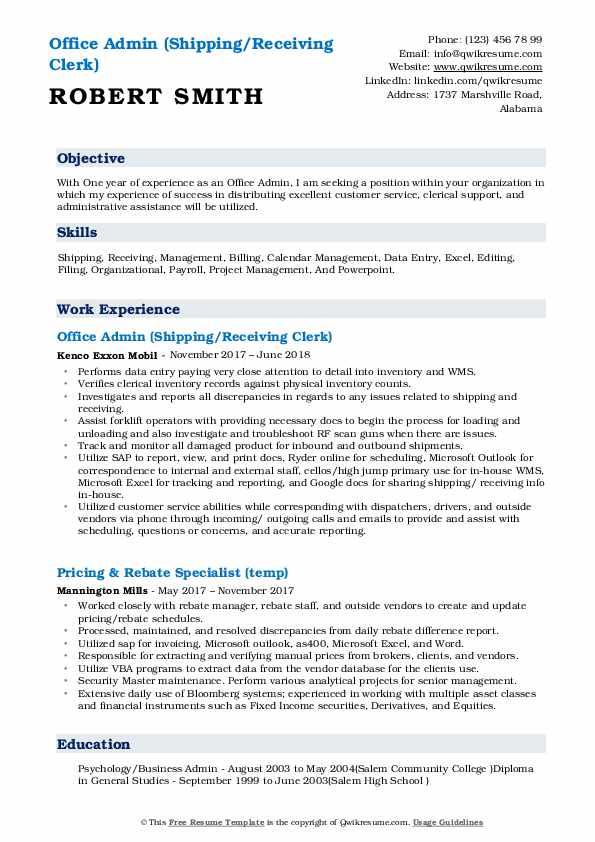 Office Admin (Shipping/Receiving Clerk) Resume Sample